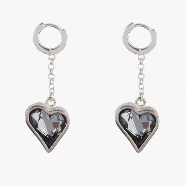 Beautiful handmade sterling silver earrings with dark grey almost black (Kuro) crystals and 1 cm leverage hoops. The small hoops are easy to open and close due to the leverage, you don't have to look and feel for the hole, just click and go.