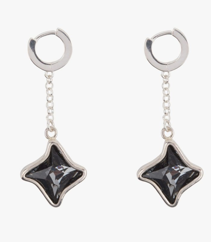 Beautiful handmade sterling silver earrings with dark grey almost black (Kuro) crystals. The crystals are dangling on a sterling silver chain attached to one cm small hoops. The small hoops are easy to open and close due to the leverage. You don't have to look and poke for the hole. Just pull them open, click and go. The small hoops fitperfectly in your ear. The unique sterling casts of the crystals are designed with a goldsmith. Making this our own jewelry design, beautifully lasered with our name on the side.