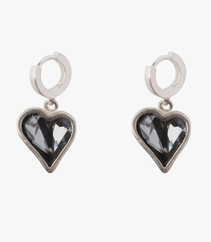 Beautiful handmade sterling silver earrings with dark grey almost black (Kuro) crystals. The crystals are dangling on 1 cm small hoops. The small hoops are easy to open and close due to the leverage, you don't have to look and poke for the hole, just click and go.