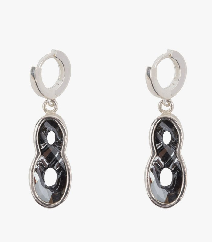 Beautiful handmade sterling silver earrings with dark grey almost black (Kuro) crystals. The crystals are dangling on one cm small hoops. The small hoops are easy to open and close due to the leverage. You don't have to look and poke for the hole. Just pull them open, click and go. The small hoops fit perfectly in your ear.  The unique sterling casts of the crystals are designed with a goldsmith. Making this our own jewelry design, beautifully lasered with our name on the side.